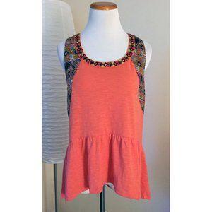 Miss Me Coral/Orange Boho Embellished Ruffle Tank